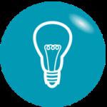 Grafik: weiße Glühbirne auf türkisem Hintergrund - mit der richtigen Beleuchtung Energie sparen, Energiespartipps
