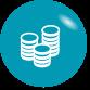 Grafik: weiße Geldmünzstapel auf türkisem Hintergrund - symbolisiert den Vorteil, dass die Investitionskosten, die zu Inbetriebnahme eines Blockheizkraftwerks notwendig sind, bei sense electra liegen