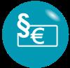 Grafik: Geldschein und Paragraph auf türkisem Hintergrund