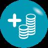 Grafik, in weiß dargestellte steigende Geldbeträge auf türkisem Hintergrund - symbolisiert die Steigerung der Wirtschaftlichkeit mittels BHKW, beispielsweise realisiert durch sense electra