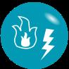 Grafik: Feuer und Blitz auf türkisem Hintergrund - dieser symbolisiert einen weiteren Vorteil eines BHKWs: gleichzeitige Strom- und Wärmeversorgung mittels BHKW von sense-electra