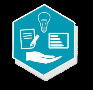 Grafik: Hand, Papier mit Stift, Energieausweis und Glühbirne auf türkisem Hintergrund - sense electra bietet vielfältige Energiedienstleistungen an