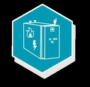 Grafik: grafisches dargestelltes, weißes BHKW auf türkisem Hintergrund - sense electra bietet Wärmeversorgung mit Blockheizkraftwerk an