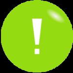Weißes Ausrufezeichen auf grünem Hintergrund - einfache Energiespartipps für Unternehmen
