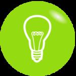 Grafik: weiße Glühbirne auf grünem Hintergrund - mit der richtigen Beleuchtung Energie sparen, Energiespartipps