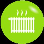 Grafik, weiße Heizung auf grünem Hintergrund - richtig Heizen und Kühlen und dadurch Energie sparen, Energiespartipps