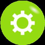 Grafik, weißes Zahnrad auf grünem Hintergrund - mit den richtigen elektrischen Geräten Energie sparen, Energiespartipps