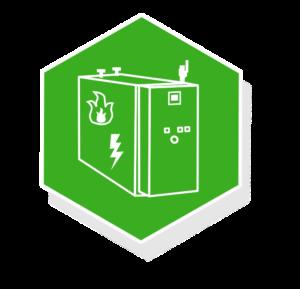 Grafik: grafisches dargestelltes, weißes BHKW auf dunkelgrünem Hintergrund - sense electra bietet Wärmeversorgung mit Blockheizkraftwerk an