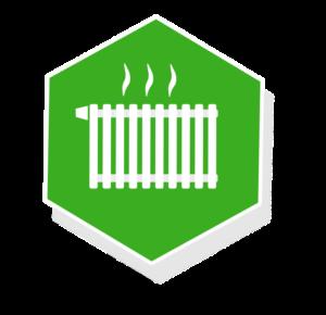 Grafik: weiße Heizung auf grünemm Hintergrund - sense electra als Wärmeversorger