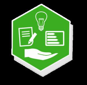 Grafik: Hand, Papier mit Stift, Energieausweis und Glühbirne auf dunkelgrünem Hintergrund - sense electra bietet vielfältige Energiedienstleistungen an